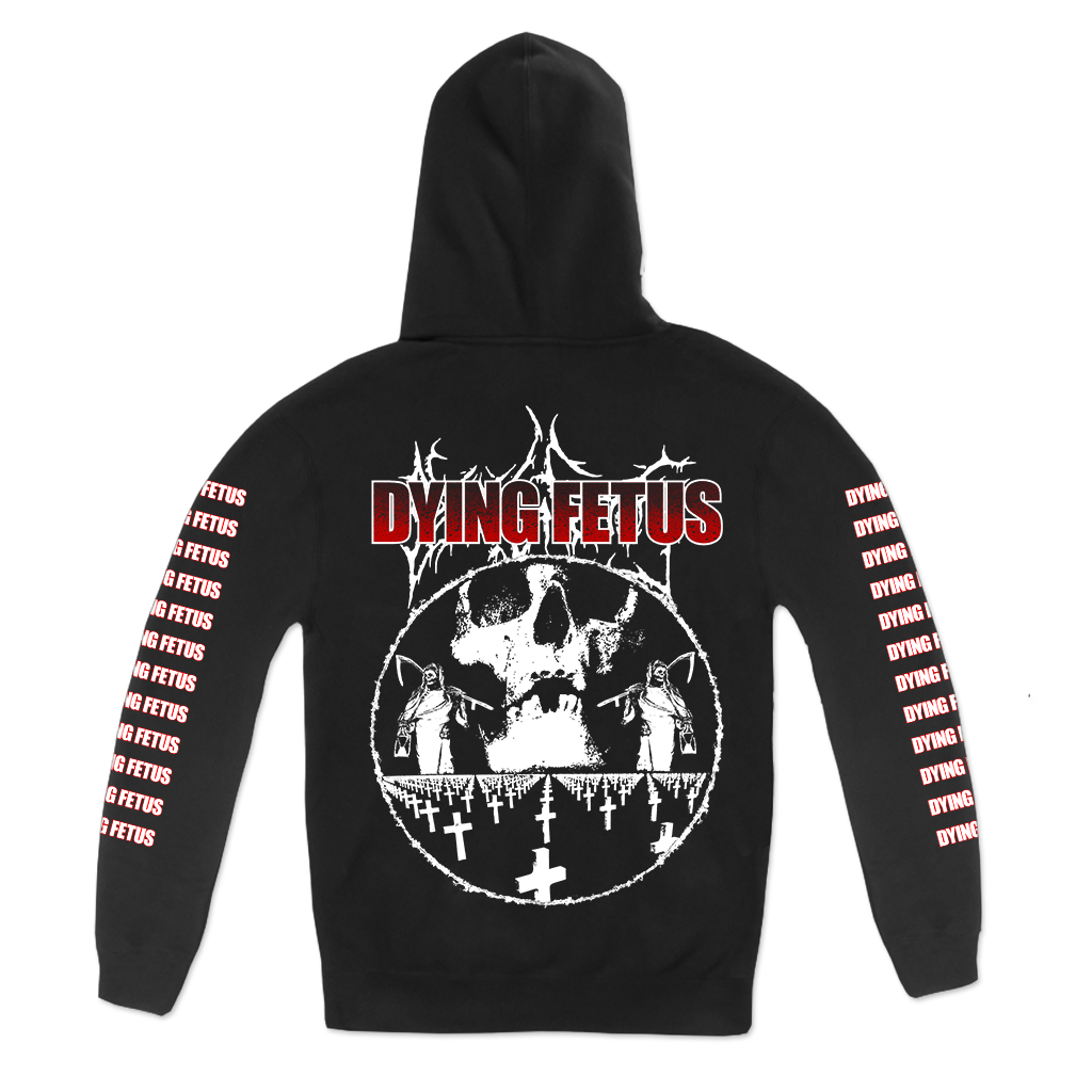 Dying Fetus Cemetery design printed on a black pullover hoodie.