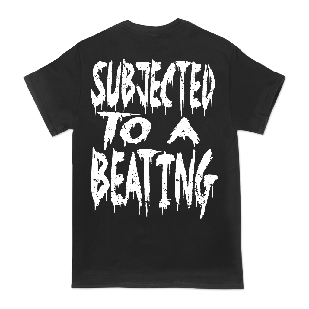 Dying Fetus Subjected to a Beating design printed on a black tee.