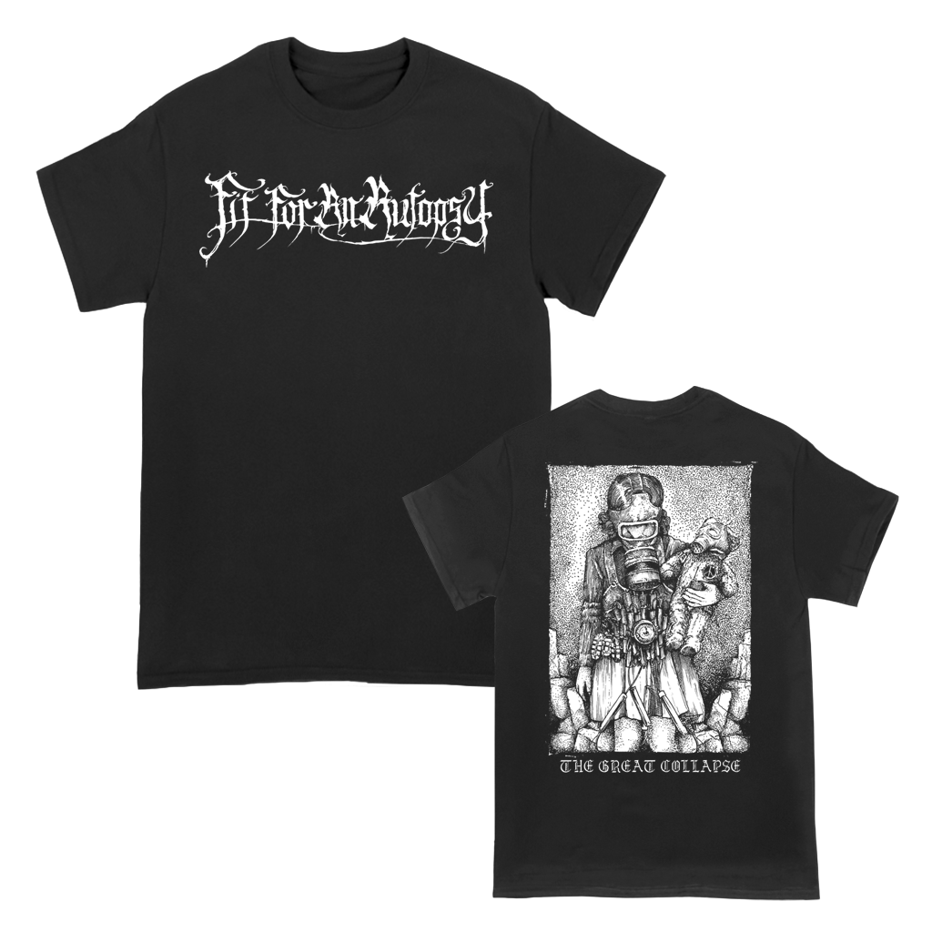 "Fit for an Autopsy is an American deathcore band from Jersey City, New Jersey, formed in 2008. This shirt features the ""Child Gas Mask"" design, printed on the front and back of a black Gildan Apparel tee."