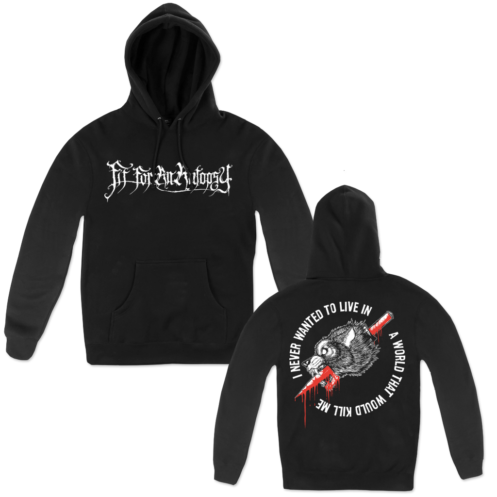 "This black pullover hoodie features the Fit For An Autopsy logo on the front, with the lyrics ""I NEVER WANTED TO LIVE IN A WORLD THAT WOULD KILL ME"" from their song ""Empty Still"" on the back with a daggered wolf illustration."