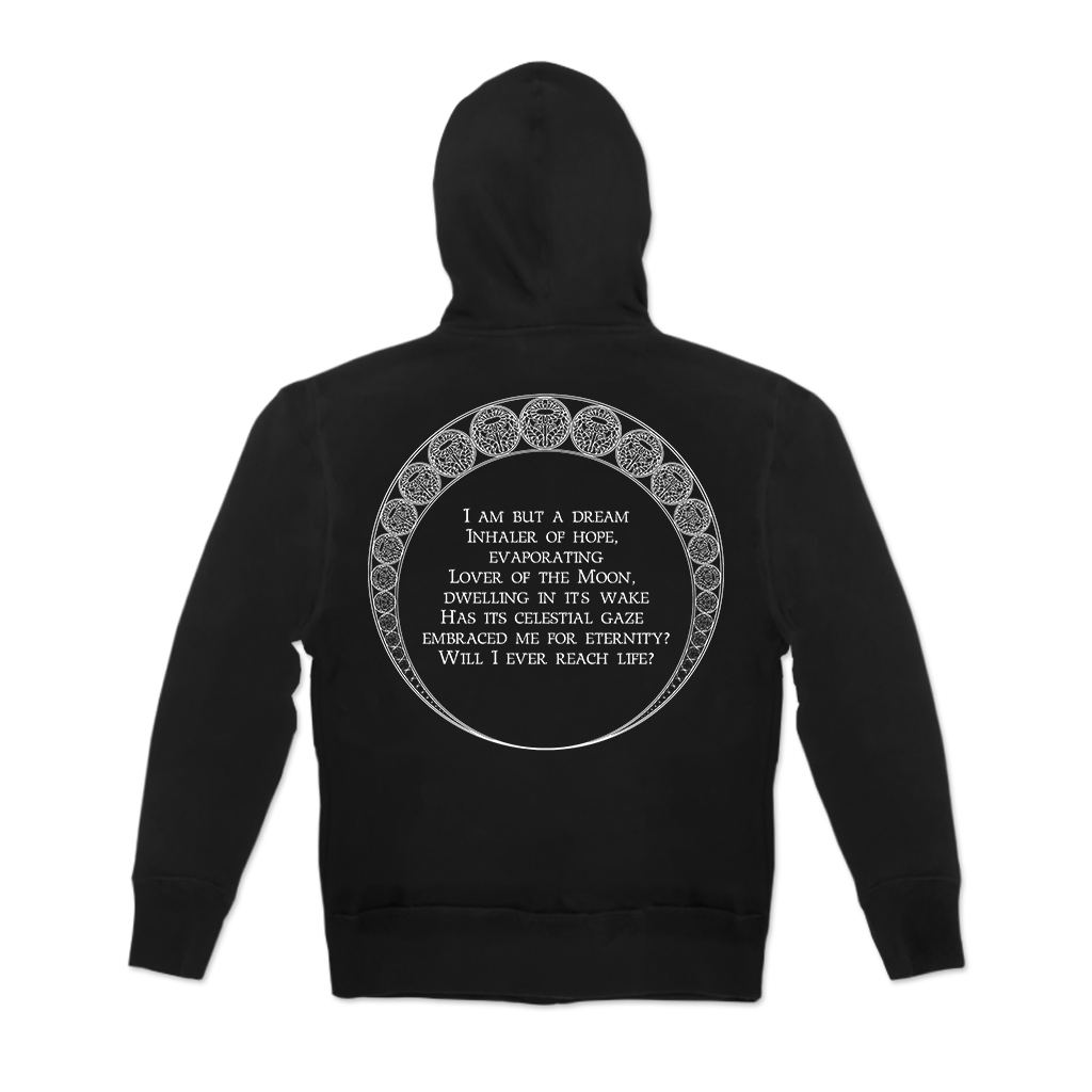 Ghost Bath Dream design printed on a black zip up hoodie. BACK