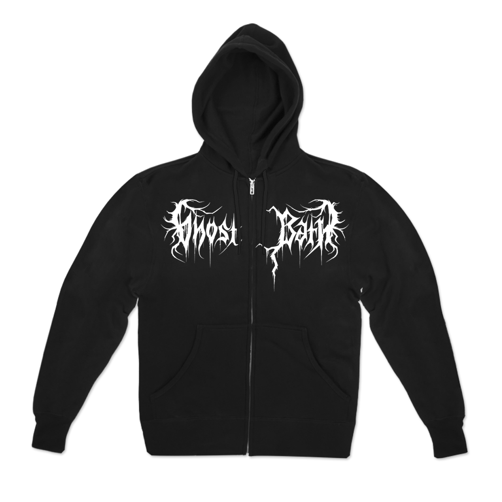 Ghost Bath Dream design printed on a black zip up hoodie. FRONT