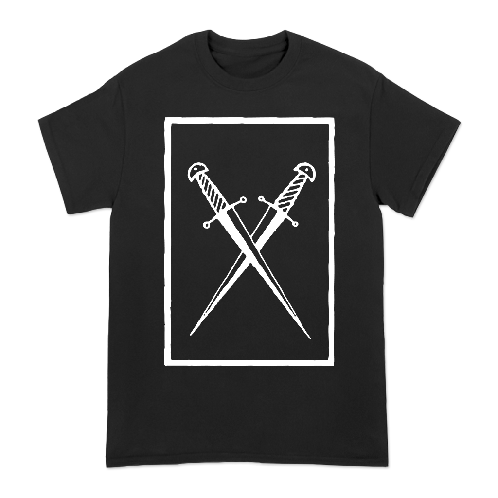 Great American Ghost Crossed Swords design printed on a black tee.