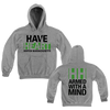 "BHC! The Have Heart ""Armed With A Mind"" hoodie comes in heather grey with green and black ink. The front features the band's name and hometown written in blocks on top of one another. The back of the hoodie features a big ""HH"" at the top with ""ARMED WITH A MIND"" written underneath. This design is printed on Gildan."