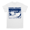 Have Heart Boston Dives design printed in blue on a white Gildan Apparel tee.