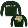 Have Heart Boston Edge design printed on a green Gildan Apparel crewneck sweatshirt.