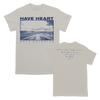 "BHC! The Have Heart ""Road"" shirt comes on natural with blue ink. It features the band's name written above a photograph of the open road on the front with ""PAVE PARADISE"" written underneath. The back of the shirt has handwritten lyrics. This design is printed on Gildan."