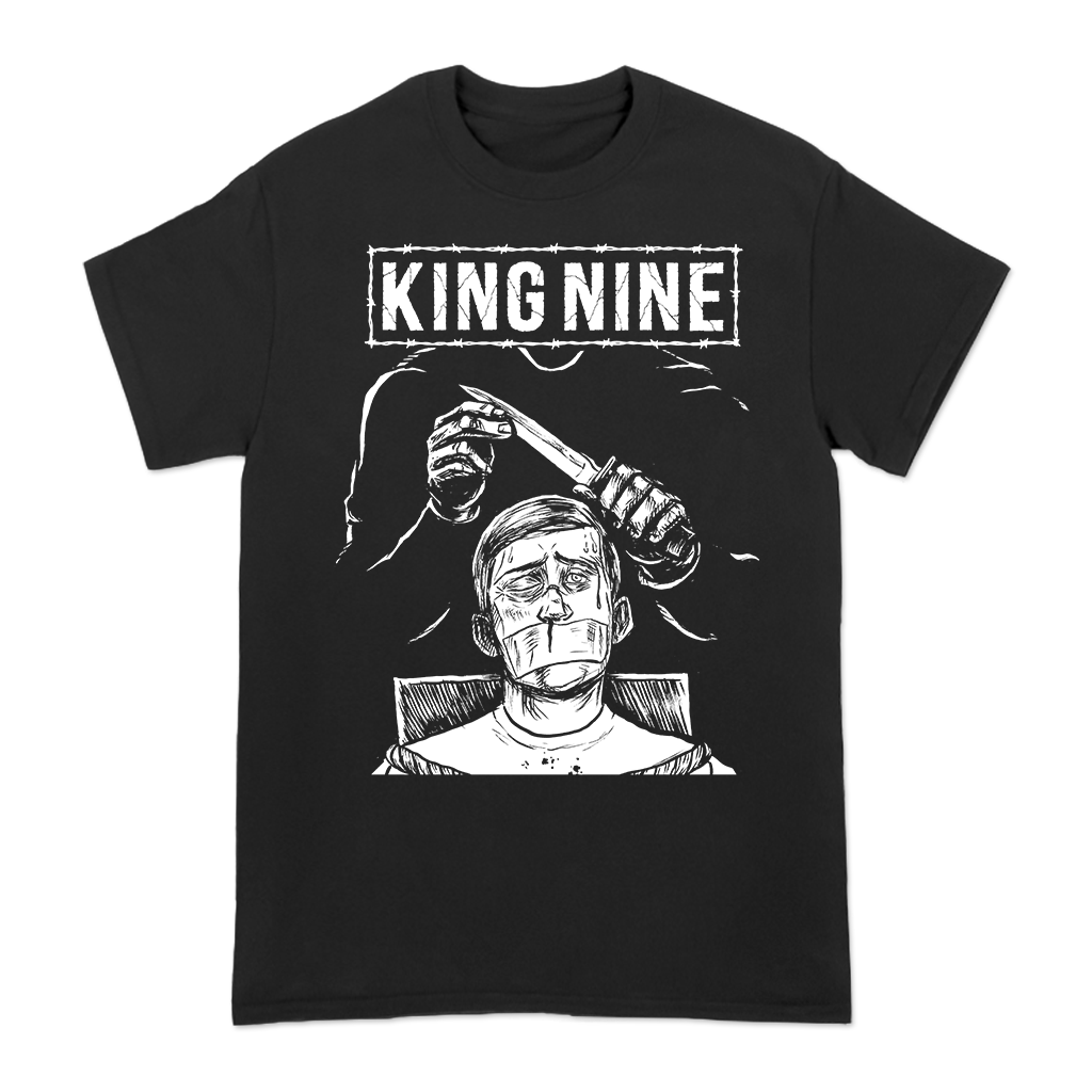 King Nine Kidnappped design printed on a black tee.