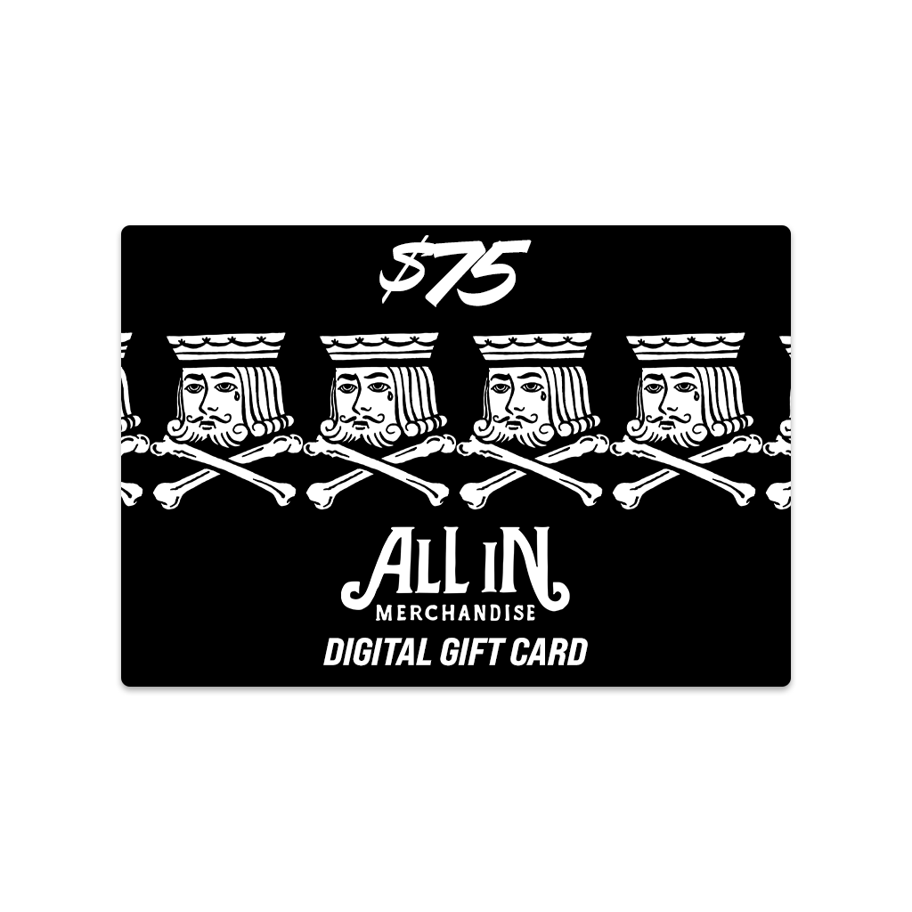Shopping for someone else but not sure what to give them? Give them the gift of choice with a allinmerch gift card. Available in amounts of $25, $50, $75, and $100.  Gift cards are delivered by email and contain instructions to redeem them at checkout. Our gift cards have no additional processing fees.