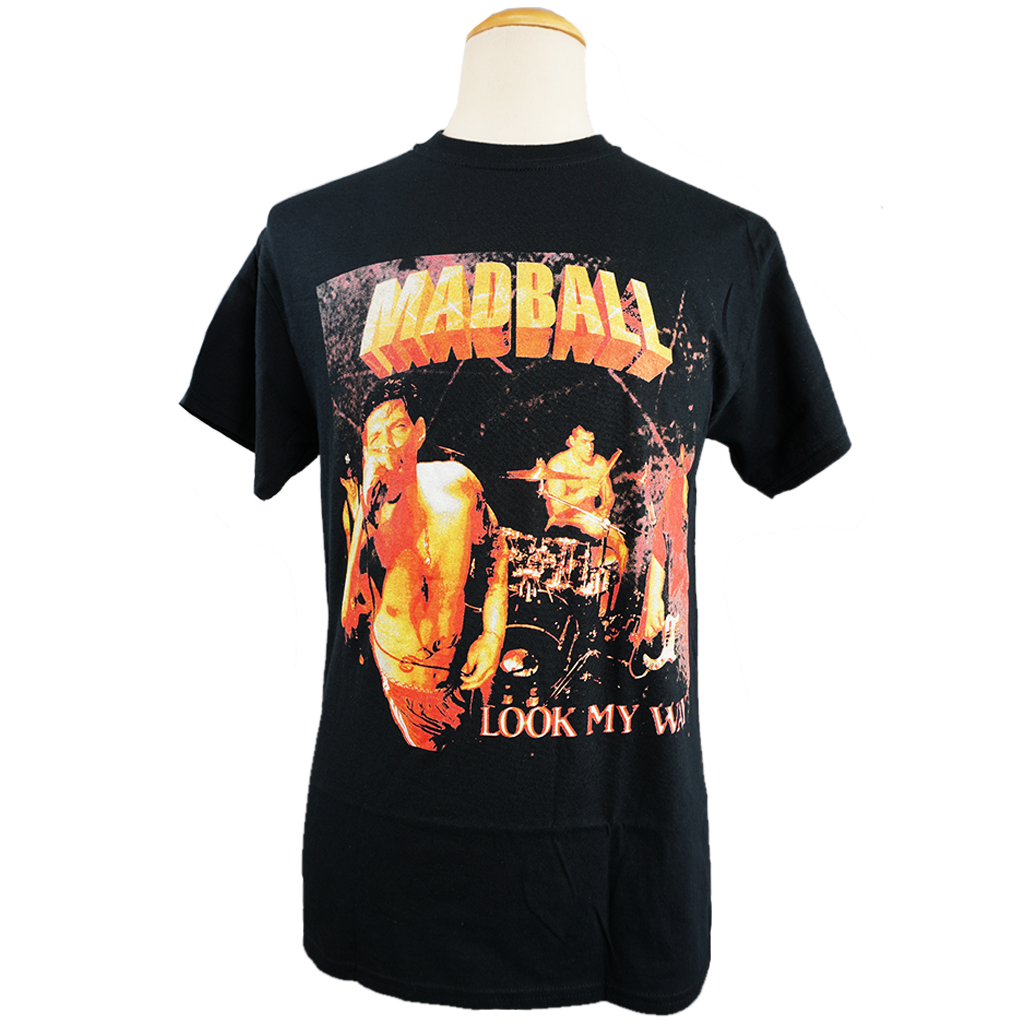 "Madball ""Look My Way"" design, printed on the front and back of a black Gildan Apparel tee."