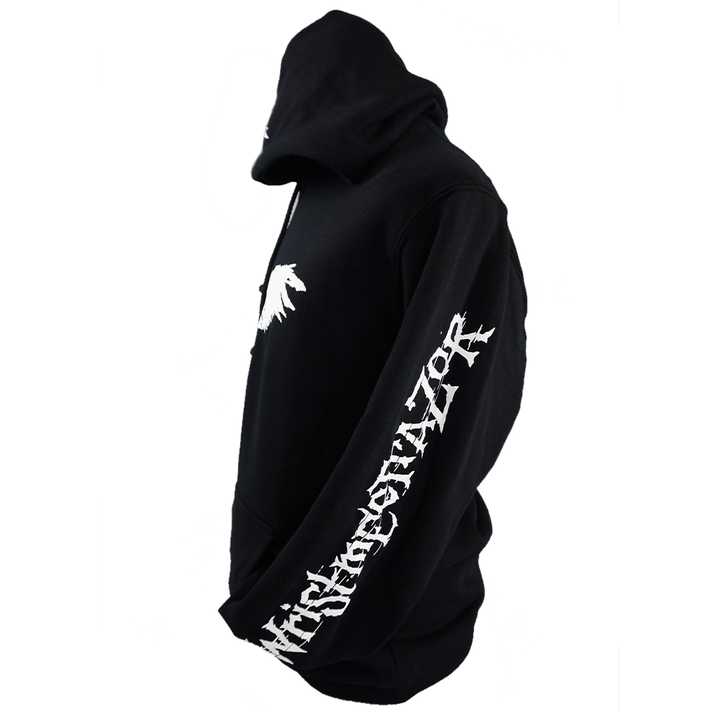 "Wristmeetrazor ""Bird"" design, on the front, left sleeve, and hood of a black Independent Trading Co. pullover hooded sweatshirt. Hoodie features include 10 oz., 80/20 cotton/polyester blend 3-end fleece with 100% cotton face, 32 singles; generous fit; fleece-lined hood; split stitch double needle sewing on all seams; twill neck tape; 1x1 ribbing at cuffs and waistband; nickel eyelets; and a tearaway label."