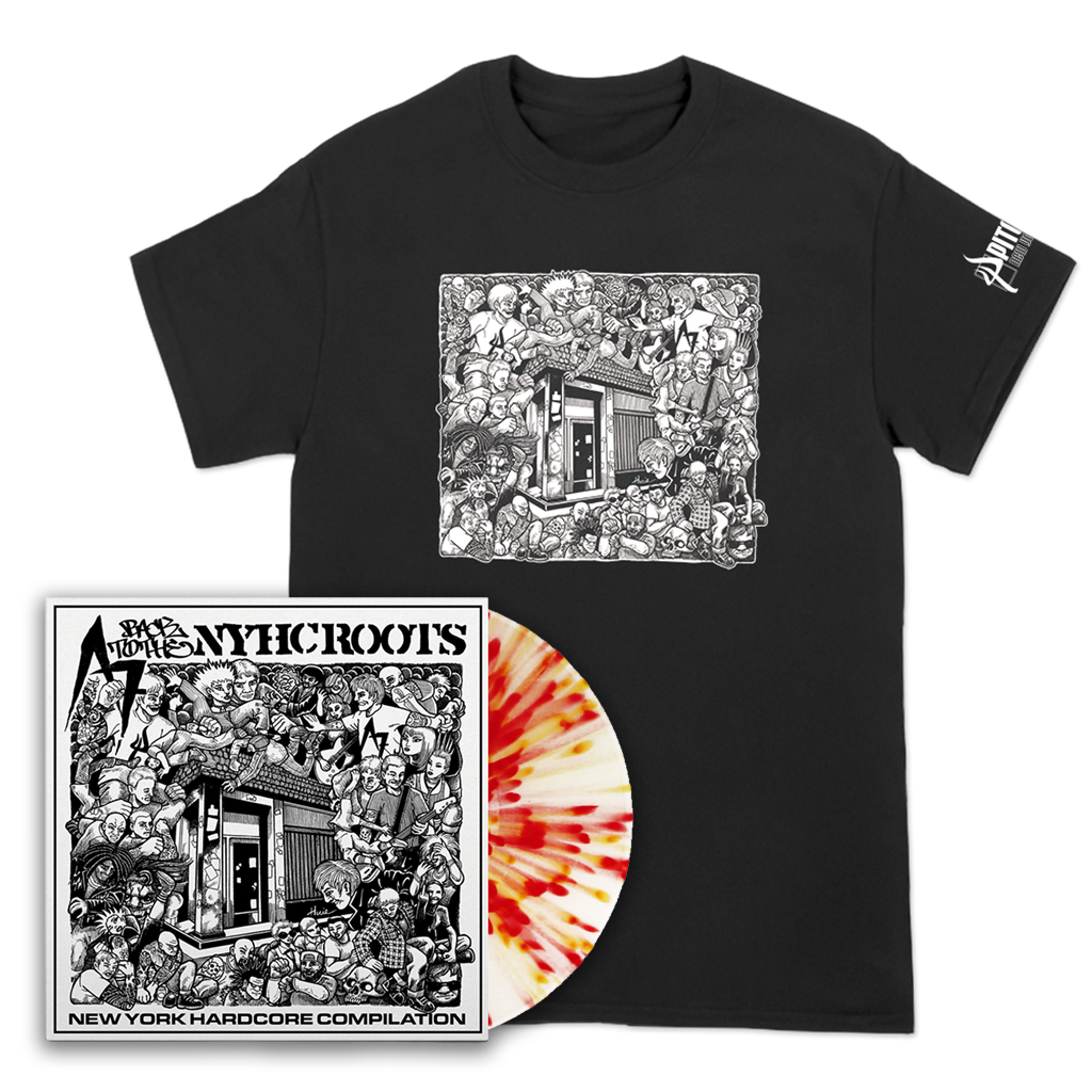 "Pitchfork's A7 Drawing Tee and A7 ""Back To The NYHC Roots"" compilation 12"" bundle."