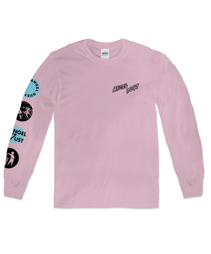Angel Du$t supergroup 4 Logo design with left chest and sleeve prints on a pink Gildan brand longsleeve shirt.