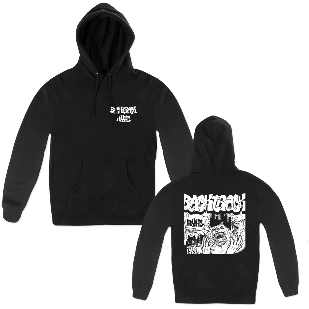 Backtrack Demo '08 design, printed on front and back in white on a black Champion Apparel pull hood.