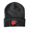 Code Orange panther design embroidered in red on a black beanie.