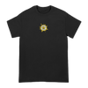 Dabghanistan Podcast logo in yellow and white, printed on the front of a black Next Level tee. Tee features include: 4.3oz., 100% combed ringspun cotton, 32 singles; fabric laundered; set-in 1x1 baby rib collar; hemmed sleeves; side seamed; and a tearaway label.