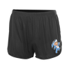 Drain band Kewpie Running Shorts in Black with printed left thigh