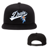 Drain band Embroidered Kewpie Swoosh Snapback. Hat is unstructured 5-panel and adjustable.