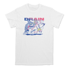 Drain Band Surfboard Impalement multi-color design printed on a Alstyle tee in white.