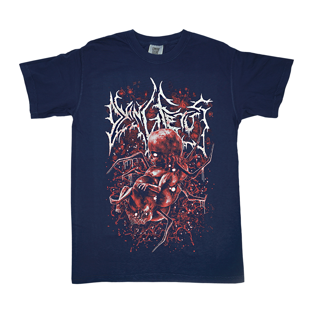 "Dying Fetus ""Deformed Infant"" design, printed on the front of a navy blue Comfort Colors t-shirt.  Tee features include: 6.1 oz., 100% ring spun cotton; soft-washed garment-dyed fabric; double-needle collar; twill taped neck and shoulders; double-needle armhole, sleeve, and bottom hems; and a twill and joker label."