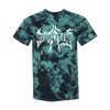 Dying Fetus Dual Logo Tie Dye Tee printed on Dyenomite Apparel in black and teal.