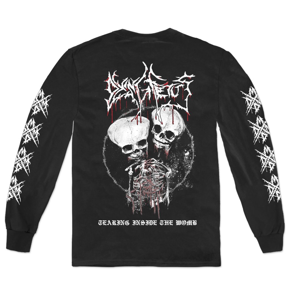 Dying Fetus Band Womb Longsleeve shirt printed on Gildan apparel in black.
