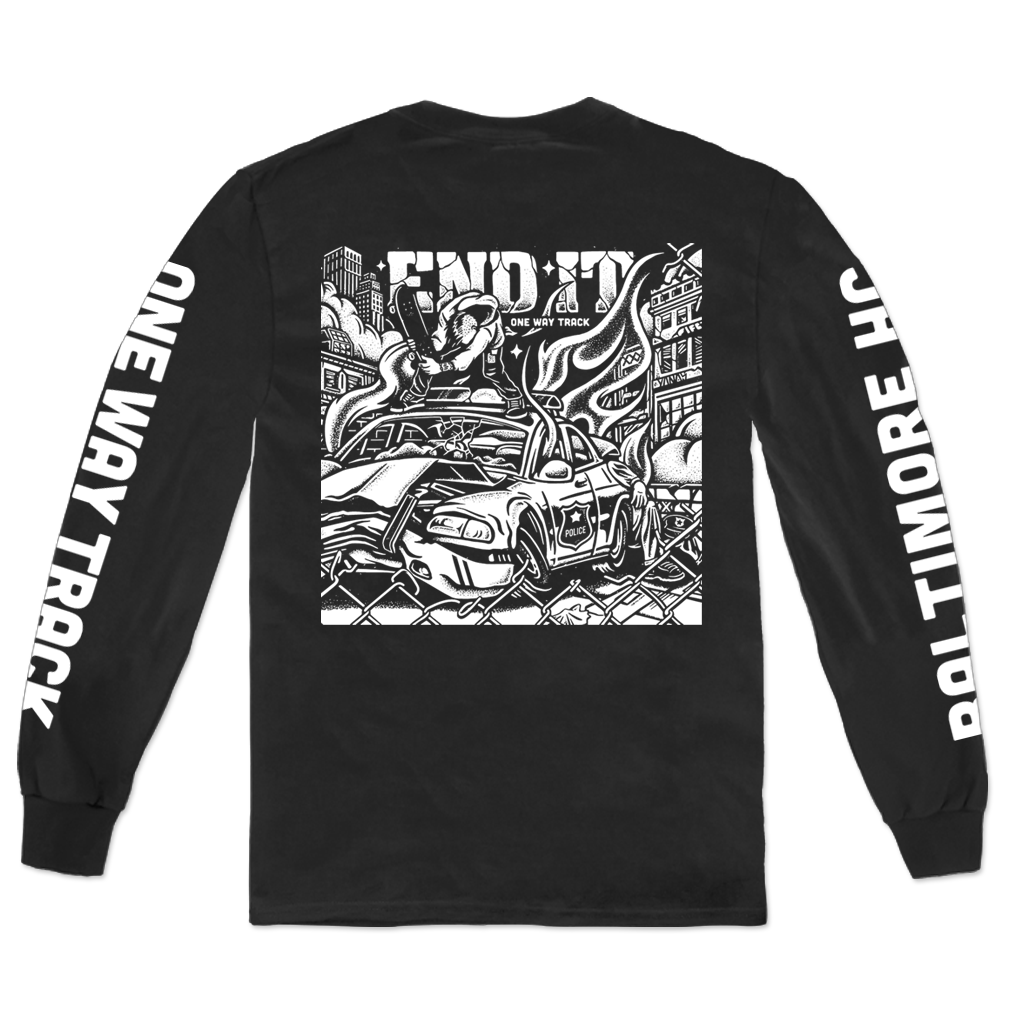 End It - One Way Track Long Sleeve, printed on Alstyle Apparel.