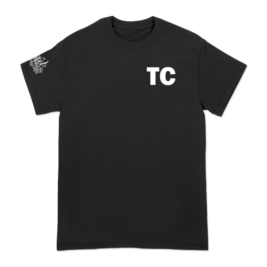 "Typecaste ""Between Life"" design, printed on the front, back, and right sleeve of a black Alstyle Apparel tee. Tee features include: 6 oz. 100% preshrunk cotton, set-in rib collar with shoulder-to-shoulder taping, seamless double needle 7/8"" collar, double-needle sleeve and bottom hem, and a tearaway label."