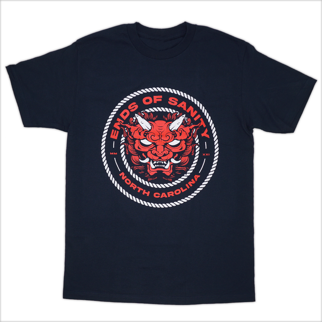 "Ends Of Sanity ""Demon Circle"" design, printed in red and white on the front of a navy blue Alstyle Apparel tee. Tee features include: 6 oz. 100% preshrunk cotton, set-in rib collar with shoulder-to-shoulder taping, seamless double needle 7/8"" collar, double-needle sleeve and bottom hem, and a tearaway label."