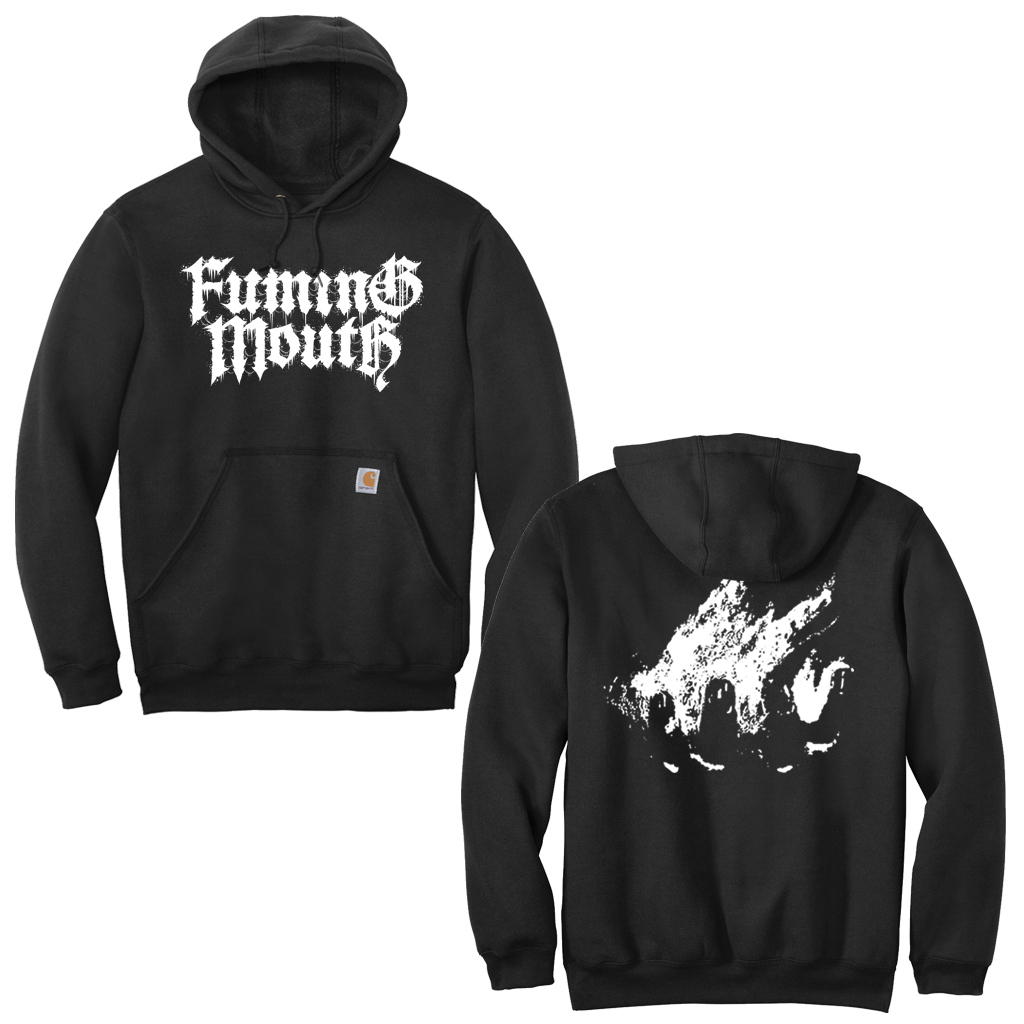 Fuming Mouth's Burning Hand design with front and back prints on a black Carhartt pullover hoodie.