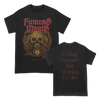 "Fuming Mouth's Spirits Chain design with multi-color front printed illustration and back print with the words ""Living Forever But Waiting To Die"" on a black Comfort Colors tee."