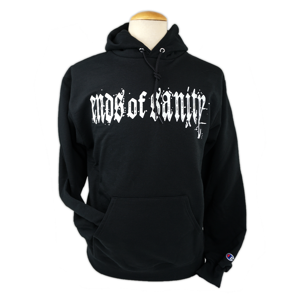 "Ends Of Sanity's logo, printed in white on the front of a black Champion Apparel pullover hooded sweatshirt.  Hoodie features include: 9oz., 50/50 cotton/polyester, made with up to 5% recycled polyester from plastic bottles; durable coverstitching throughout; 2-ply hood; dyed-to-match drawcord; front pouch pocket; and ""C"" logo on left sleeve."