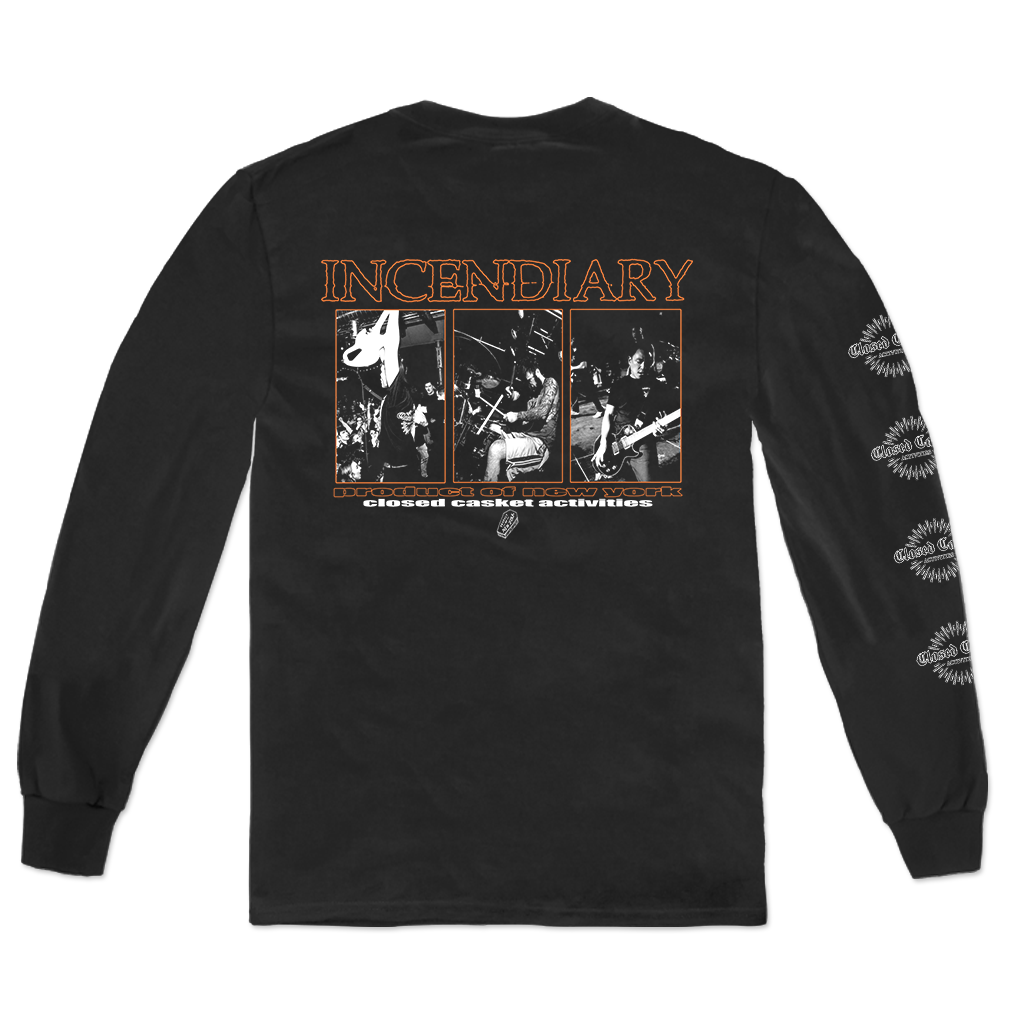 "Incendiary ""Three Box Live"" design, printed on the front, back, and left sleeve of a black Alstyle Apparel long sleeve tee.  Longsleeve features include: 6 oz. 100% preshrunk cotton, set-in rib collar with shoulder-to-shoulder taping, rib sleeve cuffs; double-needle bottom hem; and a tearaway label."