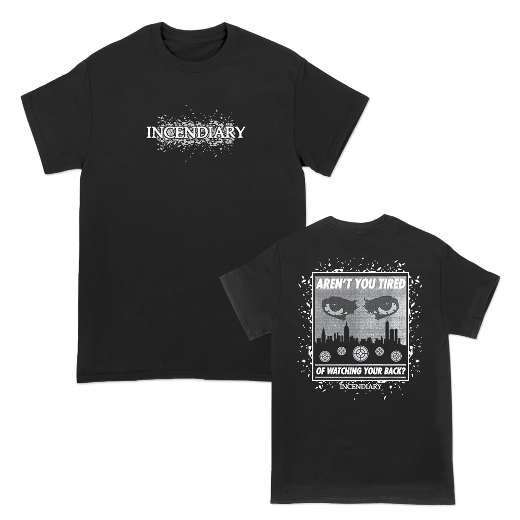 "Incendiary ""Watch Your Back"" design, printed on the front and back of a black Gildan Hammer tee.  Tee features include: 6 oz., 100% preshrunk combed ring spun cotton, classic fit, seamless non-topstitched 7/8"" collar, taped neck and shoulders, 7/8"" double needle sleeve and bottom hems, quarter-turned to eliminate center crease, and a tearaway label."