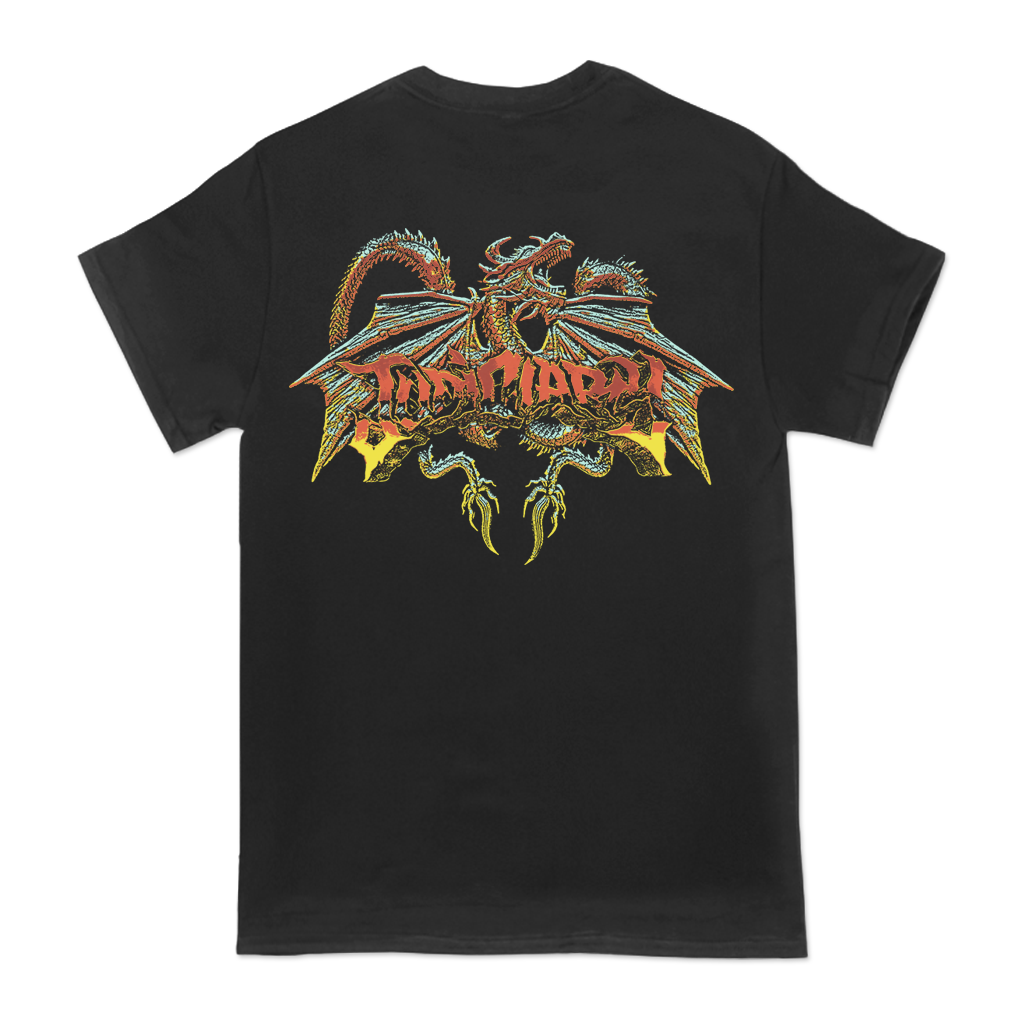 "Judiciary ""Dragon"" design, printed on the front and back of a black Comfort Colors Apparel tee.  Tee features include: 6.1 oz., 100% ring spun cotton; soft-washed garment-dyed fabric; double-needle collar; twill taped neck and shoulders; double-needle armhole, sleeve, and bottom hems; and a twill label and joker label."