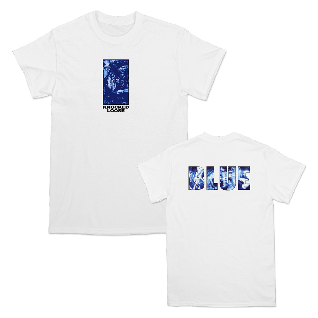 "Knocked Loose ""Big Blue Live"" design, printed on the front and back of a white Gildan Hammer Apparel tee."