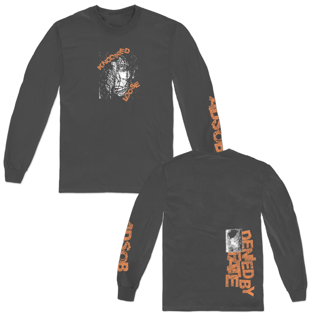 "Knocked Loose ""Broken Face"" design, printed on the front, back, and left sleeve of a charcoal grey Comfort Colors Apparel longsleeve."