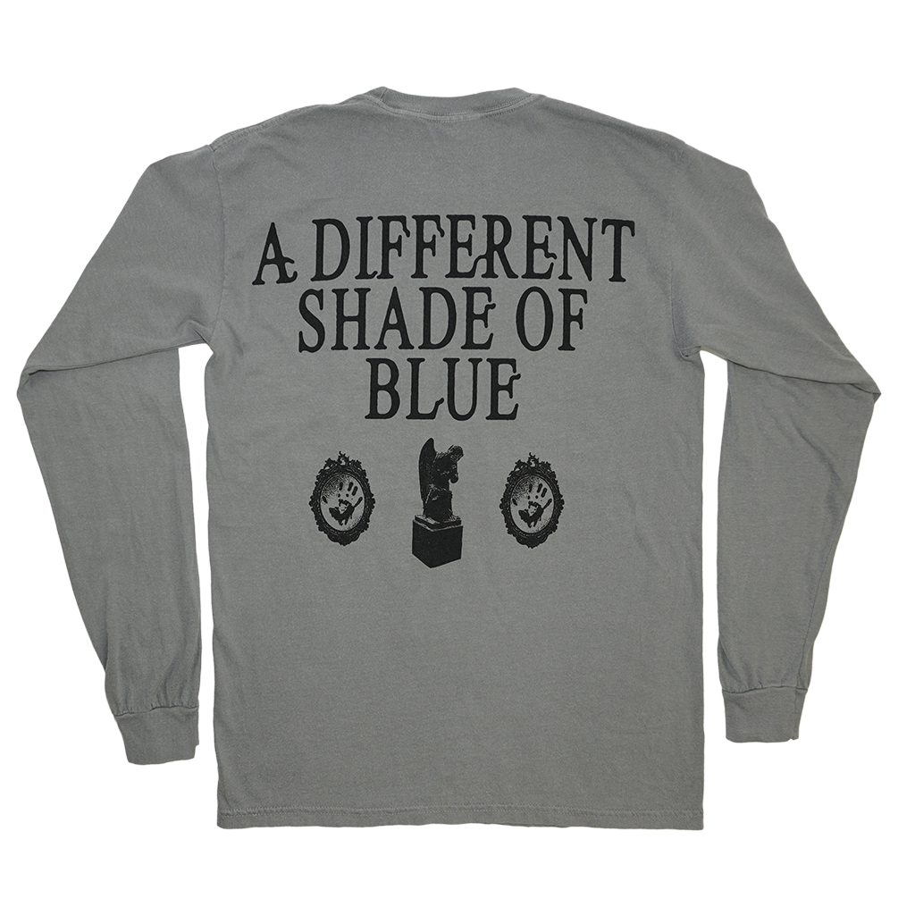 "Knocked Loose ""Different Shade Live"" design, printed on the front and back of a grey Comfort Colors long sleeve shirt.  Tee features include: 6.1 oz., 100% ring spun cotton; soft-washed garment-dyed fabric; double-needle collar; twill taped neck and shoulders; rib cuffs; double-needle bottom hem; and a twill label and joker label."