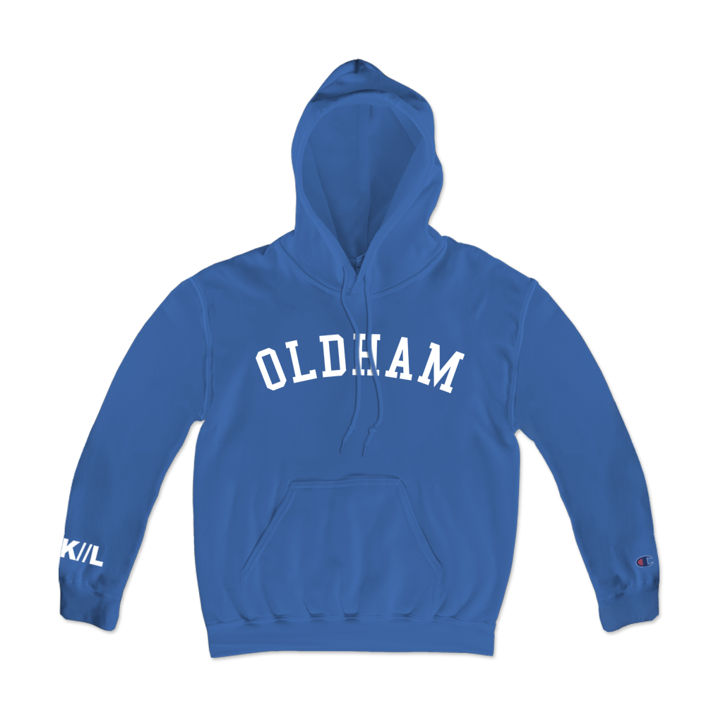 Knocked Loose Oldham Arch Angel design printed on Champion Apparel.