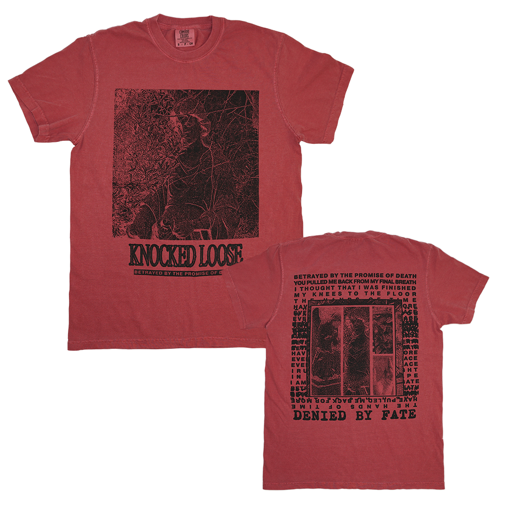 "Knocked Loose ""Promise Of Death"" design, printed on the front and back of a crimson Comfort Colors tee.  Tee features include: 6.1 oz., 100% ring spun cotton; soft-washed garment-dyed fabric; double-needle collar; twill taped neck and shoulders; double-needle armhole, sleeve, and bottom hems; and a twill and joker label."