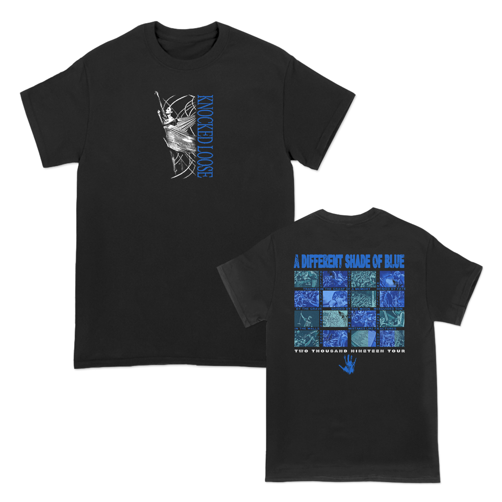 Knocked Loose Shade Of Blue Live Grid design, printed on Gildan Hammer Apparel.
