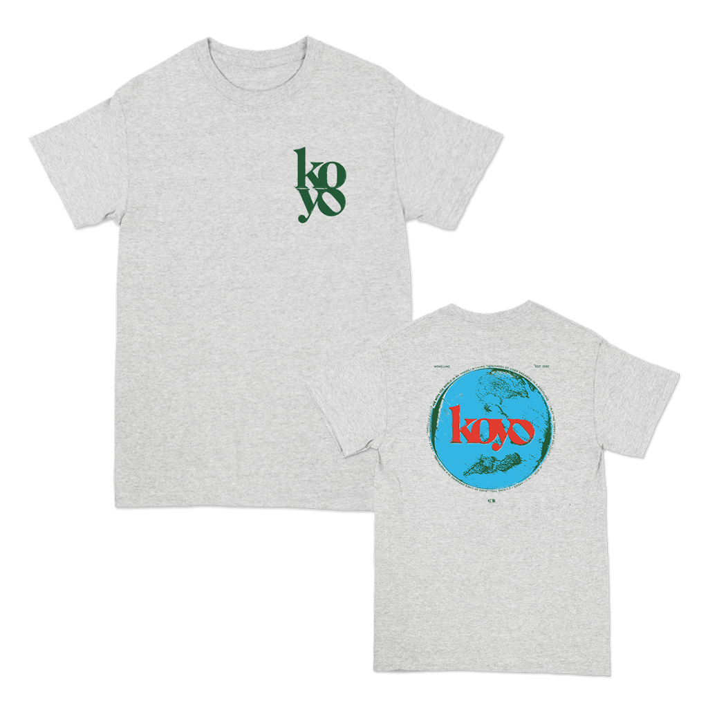 "Koyo ""Globe"" design, printed on the front and back of a white Gildan Apparel tee.  Tee features include 5.3 oz., 100% preshrunk cotton; classic fit; seamless double needle 7/8"" collar; taped neck and shoulders; double needle sleeve and bottom hems; quarter-turned to eliminate center crease; and a tearaway label."
