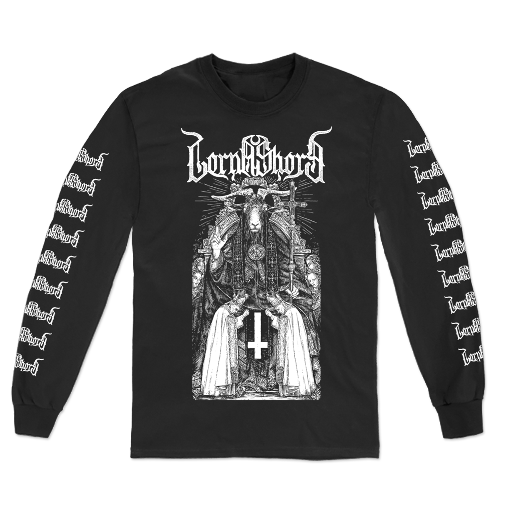 "Lorna Shore ""Baphomet"" design, printed on the front, back, and both sleeves of a black Gildan Apparel longsleeve.  The front features a detailed Baphomet illustration below the band's logo. Both sleeves are printed with the band's logo, and the back features an inverted cross with the words ""Witness the hateful energy that stares back into the depths of me"" printed below."