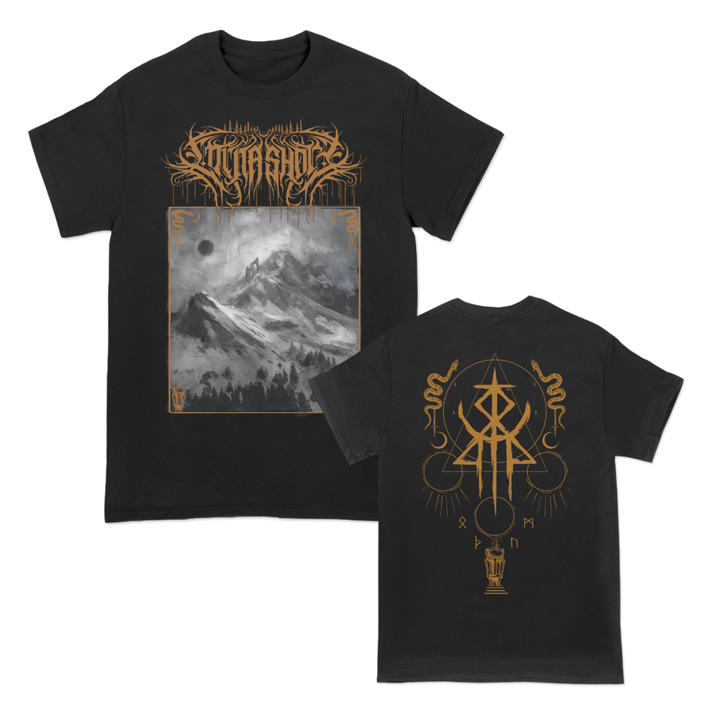 "Lorna Shore ""Black Mountains"" design, printed on the front and back of a black Gildan Apparel tee.  Tee features include 5.3 oz., 100% preshrunk cotton; classic fit; seamless double needle 7/8"" collar; taped neck and shoulders; double needle sleeve and bottom hems; quarter-turned to eliminate center crease; and a tearaway label."