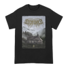 "Lorna Shore Cult Home design, printed on the front of a black Gildan Apparel tee.  Tee features include 5.3 oz., 100% preshrunk cotton; classic fit; seamless double needle 7/8"" collar; taped neck and shoulders; double needle sleeve and bottom hems; quarter-turned to eliminate center crease; and a tearaway label."