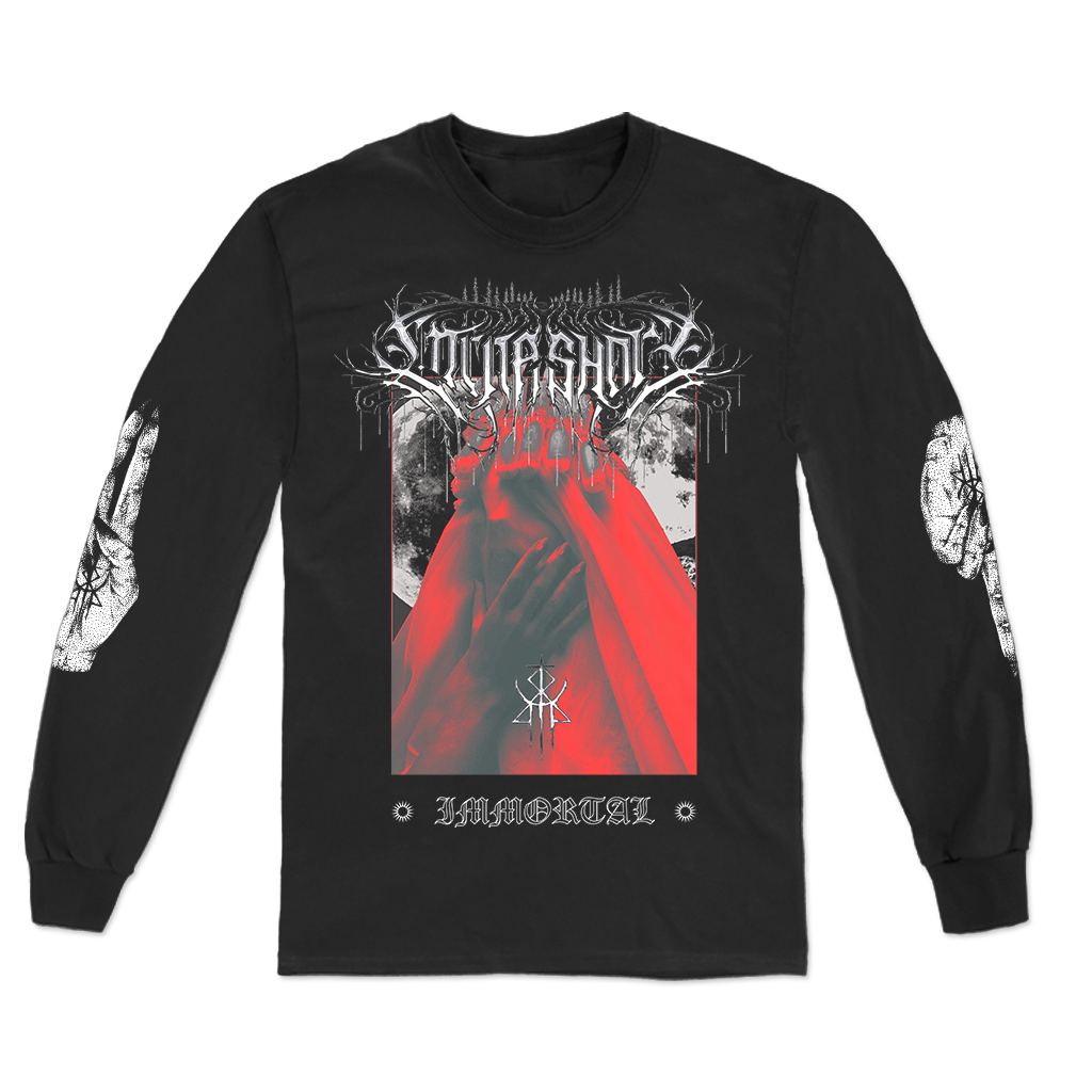 "Lorna Shore ""Death Beauty"" design, printed on the front, back, and both sleeves of a black Alstyle Apparel long sleeve tee.  Longsleeve features include: 6 oz. 100% preshrunk cotton, set-in rib collar with shoulder-to-shoulder taping, rib sleeve cuffs; double-needle bottom hem; and a tearaway label."