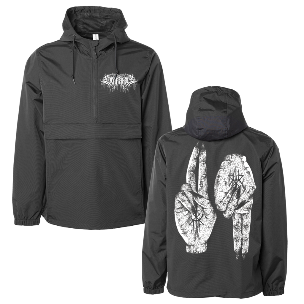 "Lorna Shore ""Hands"" design, printed on the front and back of a black Independent Apparel Nylon Water Resistant Windbreaker Anorak Jacket.  Water resistant nylon fabric, adjustable 3 panel hood with fine mesh lining, scuba neck with 1/2 length zip, hidden zipper front pocket with snaps inside front pocket flap, side slit pockets, elastic cuffs, and tightening toggle at waistband."