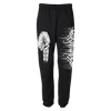"Lorna Shore ""Hands"" design, printed on both legs of a pair of black Jerzees fleece pocketed sweatpants.  Sweatpants features include: 9.5 oz., 50% cotton, 50% polyester; NuBlend pill-resistant fleece; high-stitch density for a smooth printing canvas; three-needle covered elastic waistband with inside drawcord; side-entry jersey-lined pockets; differential rise for better fit; and elastic bottom leg openings."