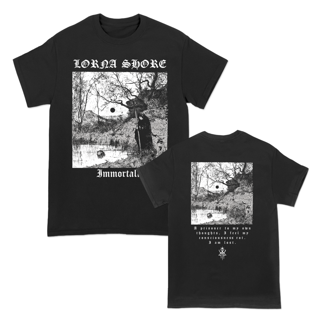 "Lorna Shore ""Prisoner Thoughts"" design, printed on the front and back of a black Gildan Apparel tee.  Tee features include 5.3 oz., 100% preshrunk cotton; classic fit; seamless double needle 7/8"" collar; taped neck and shoulders; double needle sleeve and bottom hems; quarter-turned to eliminate center crease; and a tearaway label."