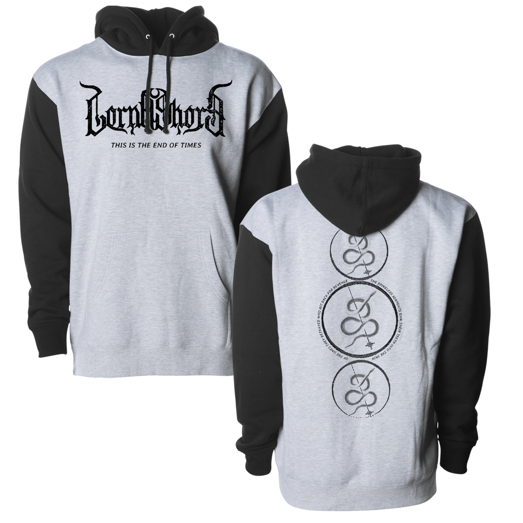 Lorna Shore Snake Circle Stack design, printed on a two tone Independent Apparel pull hood.